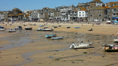 St Ives beach and harbour at low tide Cornwall England Stock Footage