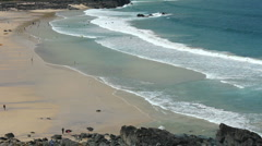 Porthmeor beach at St Ives at low tide Cornwall England Stock Footage