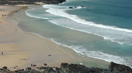 Stock Video Footage of Porthmeor beach at St Ives at low tide Cornwall England