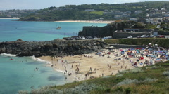 Porthgwidden beach at St Ives at low tide Cornwall England - stock footage