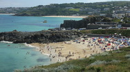 Stock Video Footage of Porthgwidden beach at St Ives at low tide Cornwall England