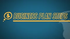 Business Plan 8 Steps video illustration on blue in HD - stock footage