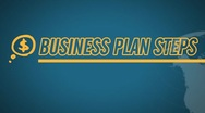 Business Plan 8 Steps video illustration on blue in HD Stock Footage