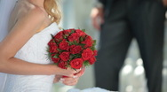 Red wedding bouquet Stock Footage