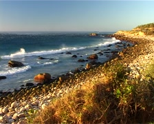 Stormy Coastline and Gorgeous Pebble Beach, Cape Town GFSD Stock Footage