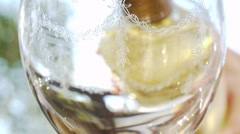 Pour White Wine in Glass Stock Footage