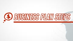 Business Plan 8 Steps video illustration on white in HD - stock footage