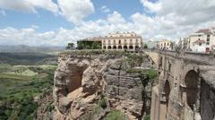 Ronda historic bridge valley Spain P HD 9912 Stock Footage