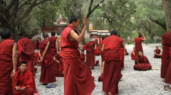 Monks Debating at Sera Monastery 4 Stock Footage