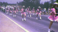 Majorettes Small Town American Parade (Vintage 8mm Home Movie Footage) Stock Footage