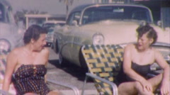 Sunbathing SEXY FIFTIES FASHION 50's Women Suits Vintage Film Home Movie 1kpc Stock Footage