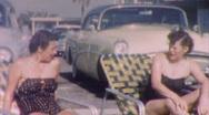 Sunbathing SEXY FIFTIES FASHION 50's Women Suits Vintage Film Home Movie 1kpc Stock Footage