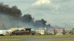 Fire, barn fire heavy smoke, rural Stock Footage