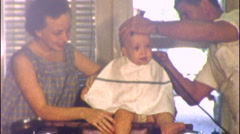 Baby's First Haircut Barbershop Barber 1950s Vintage Film 8mm Home Movie 1knw Stock Footage