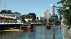 Singapore River at Clarke Quay, Singapore Stock Footage