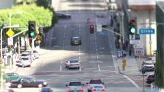 Traffic street downtown los angeles LA Stock Footage