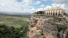 Ronda Spain historic bridge hotel P HD 9895 Stock Footage
