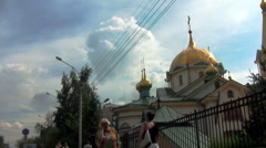 The Orthodox Church in a city Stock Footage