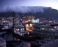 Table Mountain at Dusk with Tablecloth 02, Cape Town GFSD Stock Footage