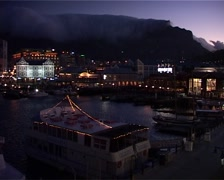 Table Mountain at Night with Tablecloth, Cape Town GFSD Stock Footage