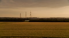 Power Poles In Sunset Stock Footage
