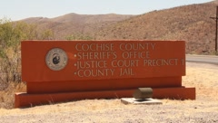 Cochise county sign for sheriff, court and the jail Stock Footage