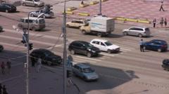 Traffic-controller on a crosswalk Stock Footage