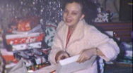 FOR ME? Woman Present Christmas Morning MOTHER 1950s Vintage Film Home Movie Stock Footage