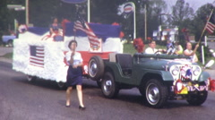 FORTH OF JULY Patriotic Small Town American Parade 1970s Vintage Film Home Movie Stock Footage