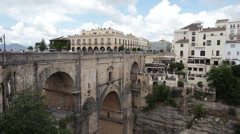 Ronda Spain bridge to hotels pan P HD 9872 Stock Footage