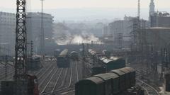 Rail track yard - stock footage