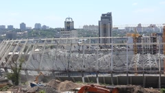 Reconstruction of republican football stadium for EURO 2012 in Kiev, Ukraine Stock Footage