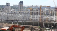 Reconstruction of republican football stadium for EURO 2012 in Kiev, Ukraine Stock Footage