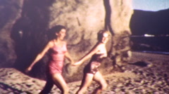 Stock Video Footage of GIRLS RUN INTO THE SEA Ocean Beach 1950s Vintage Amateur Film 8mm Home Movie