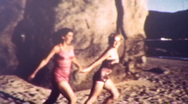GIRLS RUN INTO THE SEA Ocean Beach 1950s Vintage Amateur Film 8mm Home Movie Stock Footage