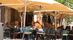 Busy Mediterranean European Cafe 01 Stock Footage