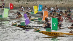Dragon boat races in HongKong - slow motion Stock Footage