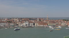 Panoramic, aerial view of Venice church, Italy, Europe Stock Footage