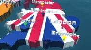 Stock Video Footage of 3D HD United Kingdom Map with Names
