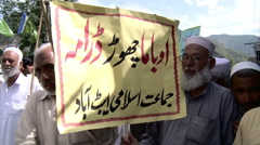 Protest against USA in Abbottabad, Pakistan - stock footage