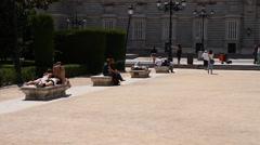 Plaza De Oriente 02 Madrid Stock Footage