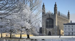 Cambridge, King's College Chapel in Winter Stock Footage