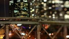 Brooklyn bridge at night, new york Stock Footage