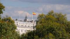 Spanish Flag on Palazzo Reale Di Madrid Stock Footage