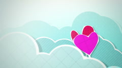 Two Hearts In Clouds Loop HD Stock Footage