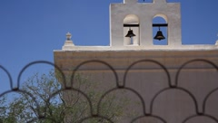 Bell tower with three bells of catholic mission Stock Footage