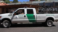 US customs and border patrol truck with bicycles Stock Footage