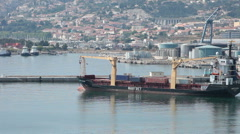 Cargo ship departs Marseille France P HD 0319 - stock footage