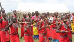 Maasai Children Singing and Dancing  (HD) Stock Footage