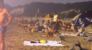 PEOPLE At the Beach CROWD SUMMER Sun 1950s Vintage Film 8mm Home Movie 24 Stock Footage